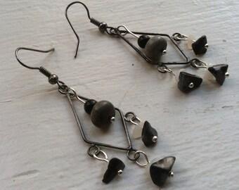 MODERN SIMPLICITY-- Chalcedony, Snowflake Obsidian, Grey Stone Earrings