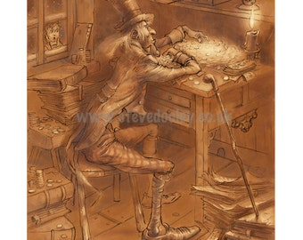 Scrooge at his Table.