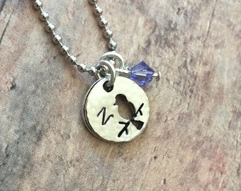 Hand Stamped Personalized Bird Necklace