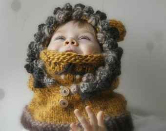 KNITTING PATTERN hoodie cowl Lion Leon (baby, toddler, child, adult sizes)