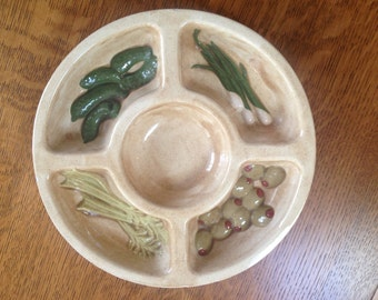 Holland Mold Ceramic Relish Tray Divided Dish