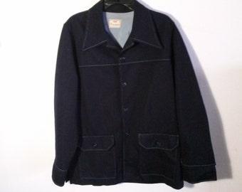 Levis Panatela 1970's Vintage Polyester Dark Blue 1Jacket Large