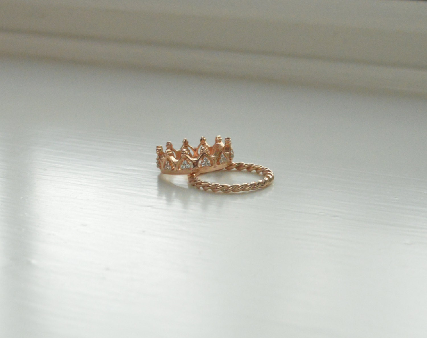 princess crown ring 14k gold crown ring 14k tiara