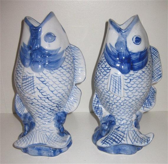 Porcelain koi fish vases hand painted by brianworld on etsy for Koi fish vase