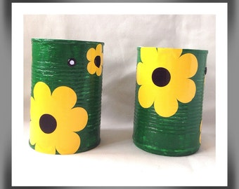 Up cycled tin cans, Recycled cans, Eco friendly cans, Flower design