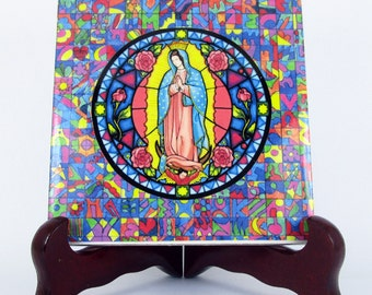 Virgin of Guadalupe - religious gift idea - handmade - ceramic tile wall hanging - catholic decor - Christian art Our Lady of Guadalupe
