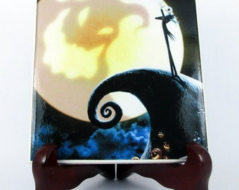 Jack on Spiral Hill The Nightmare before Christmas Ceramic Tile - Handmade  - Skellington Sally Tim Burton wall art decor collectible mod.14