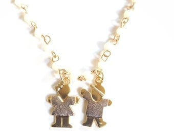 Boy and Girl Necklace, Mom Charm Pendant, gold Boy Girl Necklace, White Short Crystal Rosary, Children pendant Necklace, Mother's day Gift