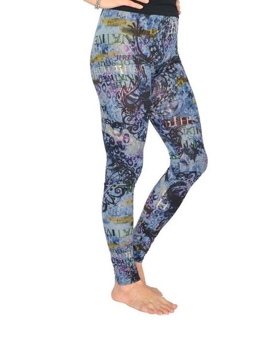 Womens Yoga Leggings, Blue Yoga Pants, Tribal Leggings, Funky Printed Leggings, Women's Activewear