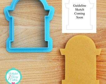Halloween Tombstone 2 Cookie Cutter and Fondant Cutter - Three Sizes - **Guideline Sketch Coming Soon**