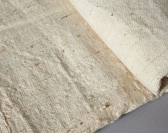 """Large African Blanket Organic Cream Cotton Throw/Bedspread - Handmade in West Africa 100""""x65"""". Free shipping."""