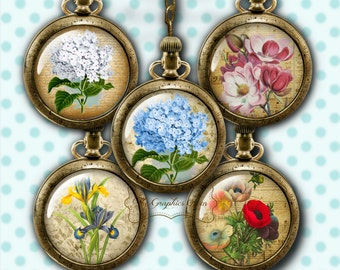 Victorian Flowers Bottle Cap Images Digital Collage Sheet Round Images 1 Inch Button Circles Jewelry Making Scrapbooking Supplies