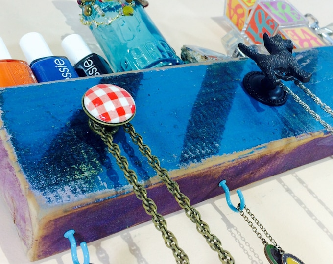Necklace holder /jewelry wall hanging organizer reclaimed wood decor/ coat rack black & blue distressed stripes with dog 4 hooks 3 knobs