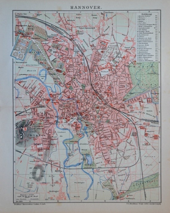 Hannover map at the beginning of 20th century. Old book plate, 1901. Antique  illustration. 114 years lithograph. 9'6 x  11'9 inches.