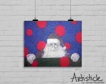 Santa Art Print - Christmas Decor - Holiday Artwork - Santa Drawing - St Nick Art - Santa Claus Art - Red Green Art - Seasonal Decor