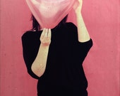 "Photography ""Woman with a heart face"" - 8x12 inches - Pink woman portrait"