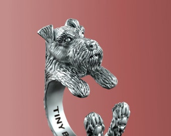 Handmade Miniature Schnauzer Jewelry. 925 Sterling Silver Cuddle Ring. Great for all the Dog Lovers