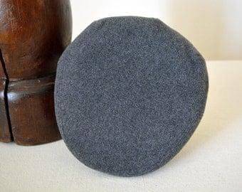 Gray Wool Flat Cap - Pure Wool Velour Handmade Winter Driving / Ivy / Flat Cap - Men