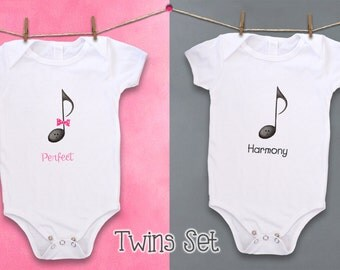 Bodysuit, Baby bodysuit, Cute baby bodysuit, Twins, Twin Clothing Set, Music, Music Notes, Harmony, Music baby, Musician, Girl, Boy