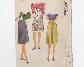 Vintage 40's McCall Pleated Skirt Sewing Pattern #5155 - Size 24 waist