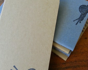 Pocket Kraft Moleskine Snail Stamped Notebook : Hand-stamped Travel Journal