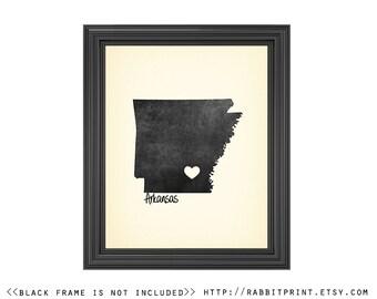 Arkansas Art Print, Personalized State Print, Wall Art, Arkansas State Print, artwork, wall decor, state love, Wedding anniversary gift