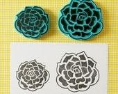 Succulent flower rubber stamp, hand carved stamp, wedding invitations, wedding decor, cactus decor.
