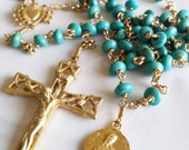 Rosary - Turquoise Saint Mary Magdalene Rosary - 18K Gold Vermeil Crucifix and Center