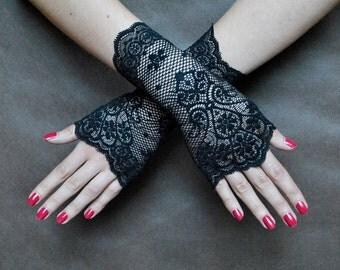 Elegant GOTHIC VAMPIRE Glamour GLOVES black short lace gloves
