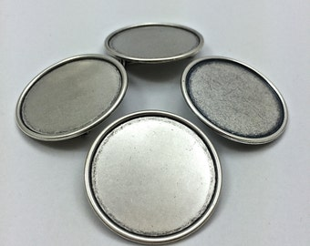 4pc Round Pins 30mm // Brooch // Heavy Antique // Bezel // SilverTone // Settings // DIY // Made In The USA by Winky&Dutch