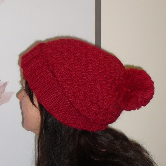 Knitted Hat Patterns For Alpaca Yarn : Red Hat / Hand Knitted Hat / Alpaca Wool Hat / Pompom Hat