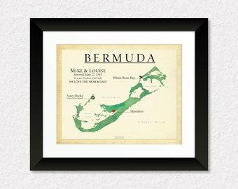 Personalized Wedding Gift, Paper Anniversary Present, Map Art of Bermuda, Wedding Anniversary Gift for Couple, Travel Map of Bermuda