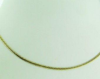 "14 K gold flat necklace. 15"" long. Made in Italy."