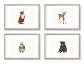 Woodland Nursery Art, Set of 4 Prints, Animal Paintings, Fox, Bear, Deer, Owl, Animal Wall Art, Childrens Wall Decor, Kids Art Print, Forest