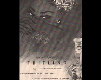 Vogue magazine ad for Trifling cologne by Lenel, matted - Beauty0318