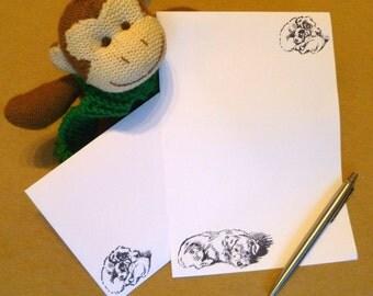 Dog Stationery Set - Sleeping Dogs Writing Paper with matching premium envelopes - Sleepy Puppy Stationery Set - Dog Lovers Gift Present