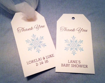 Snowflake THANK YOU Hang Tag Winter Wedding, Baby Shower Favor Labels, Christmas Gift Tag, Winter Wonderland, Onederland, Personalized
