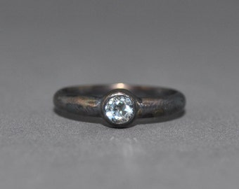 White topaz and oxidised silver engagement ring - made to order
