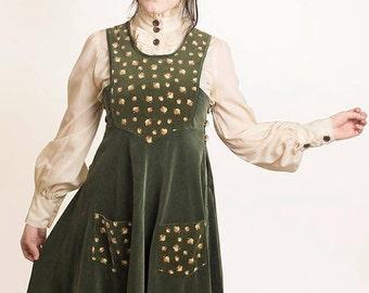 RARE Vintage 1970s Annabellinda Forest Green Velvet Folk Midi Pinafore Dress S M