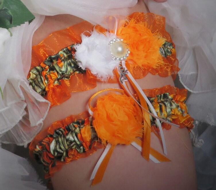 Camo Garter For Wedding: Orange Camo Garter True Timber Camo Wedding Garter Set