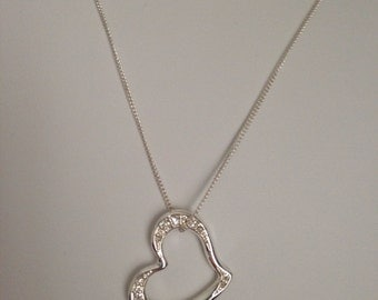 "Avon - Pave Floating Heart Necklace - adjustable - 20"" - 22"" Silver Tone"