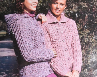 Vintage knitting pattern collared or hooded cardigan jacket lady's pdf download pattern only pdf