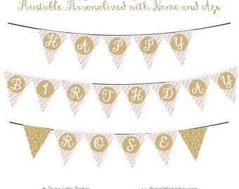 Glitter Birthday Banner - Sparkle Birthday Banner - Pink and Gold Printable Banner - Personalize with 1 name DIY Banner