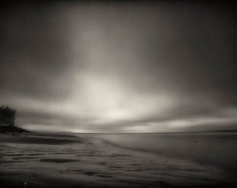 Beach Photography, Sunset, Ocean, Nature, Landscape, Long Exposure, Fine Art Black and White Photography, Wall Art, Home Decor