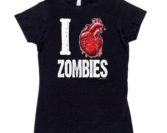 Womens I heart Love Zombies T Shirt