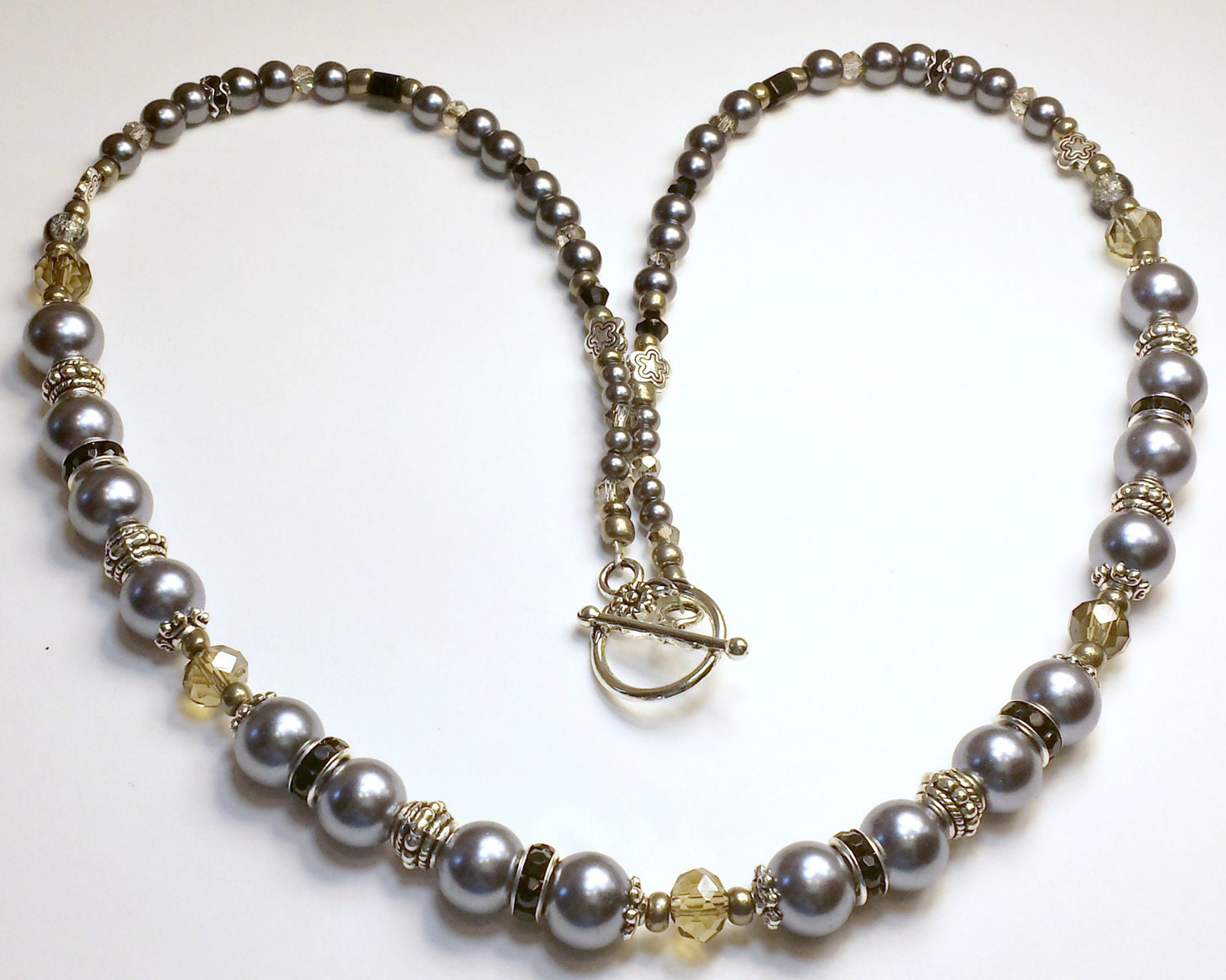 beaded necklace black and silver 24 inch necklace with silver