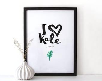 Ink Typographic Art Print - I heart kale
