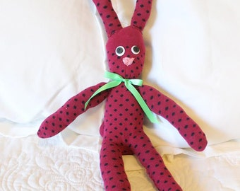 Handmade Sock Animal - Sock Bunny - Stuffed Bunny - One of a Kind