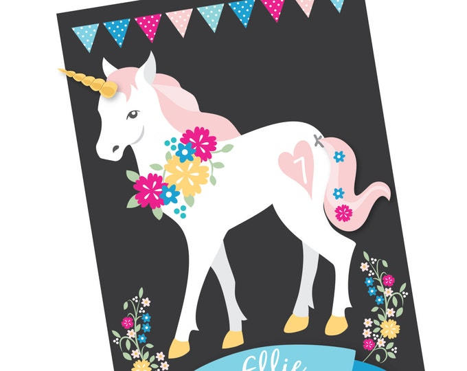 Pin the tail  & horn on the Unicorn- party game - DIY party game - Digital files