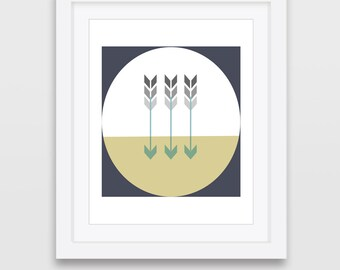 Printable Art, Modern Print, Blue Yellow Art, Geometric Arrows, Modern Download, Minimalist Print, Wall Prints, Digital Print, Printable Art